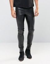 Asos Meggings In Faux Leather
