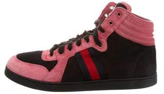 Gucci Web-Trimmed High-Top Sneakers