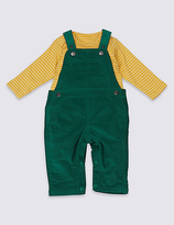 Marks and Spencer 2 Piece Cord Dungarees & Bodysuit Outfit