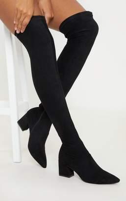 PrettyLittleThing Black Low Block Heel Knee Boot