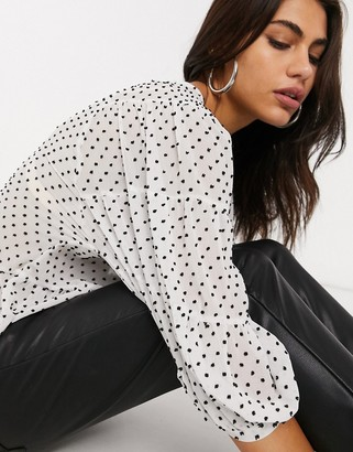 Stradivarius pelplum blouse in white with dots