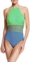 Diane von Furstenberg Striped Panel Halter-Neck One-Piece Swimsuit, Multicolor