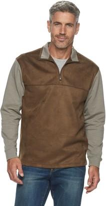 Haggar Men's Classic-Fit Quarter-Zip Faux-Suede Fleece Pullover