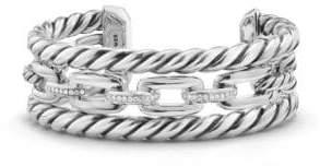 David Yurman Wellesley Link Pave Diamond& Sterling Silver Three-Row Cuff