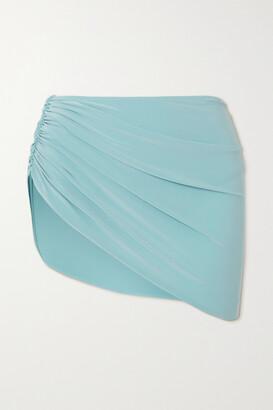 Norma Kamali Diana Draped Asymmetric Bikini Briefs - Blue