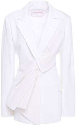 Carolina Herrera Layered Pleated Twill And Crepe Blazer