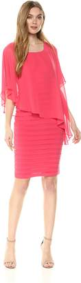 Adrianna Papell Women's Chiffon Drape Overlay with Banding Dress