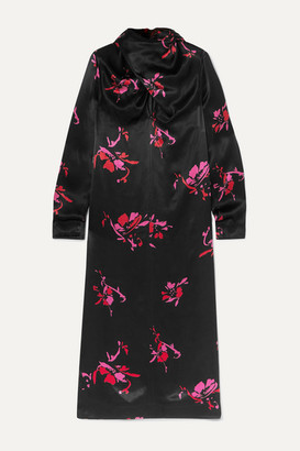 Ganni Floral-print Satin Midi Dress - Black