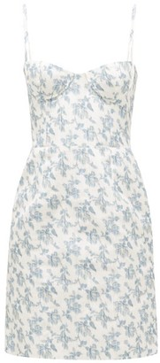 Brock Collection Floral-print Cotton-blend Bustier Dress - White Multi