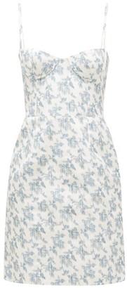 Brock Collection Floral-print Cotton-blend Bustier Dress - Womens - White Multi