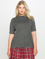 ELOQUII Plus Size Double Knit Short Sleeve Sweater