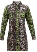 Ganni Leopard And Zebra-print Cotton-denim Shirtdress - Womens - Brown Multi