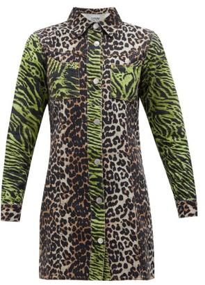 Ganni Leopard And Zebra Print Cotton Denim Shirtdress - Womens - Brown Multi