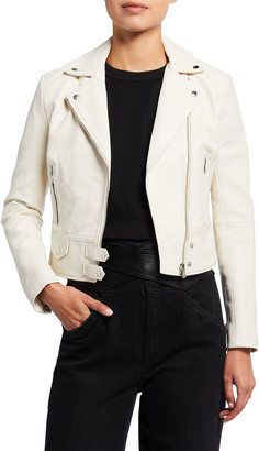 Pinko Zip-Front Leather Moto Jacket