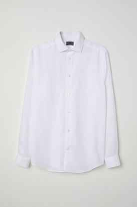 H&M Slim Fit Linen Shirt - White