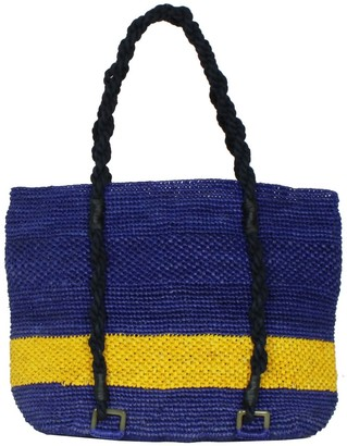 Mimosa Blue Beach Raffia Tote Bag With Yellow Stripe
