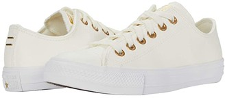 Converse Chuck Taylor All Star Ox - Leather (Egret/Gold/White) Women's Shoes