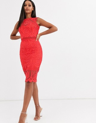 Lipsy premium lace midi dress-Red