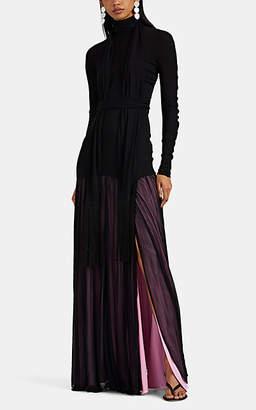 J.W.Anderson Women's Tech-Jersey Scarf-Neck Maxi Dress - Black