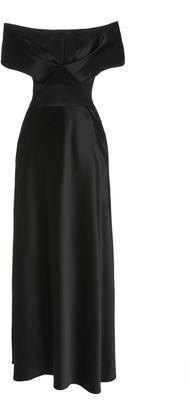 Brandon Maxwell Off-The-Shoulder Silk Maxi Dress
