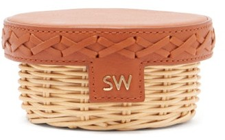 Sparrows Weave - Trinket Leather And Wicker Clutch - Womens - Tan