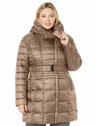 Big Chill Women's Plus Size Spread Collar Puffer Coat with Side Zippers