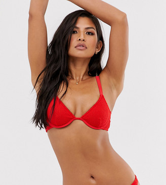 Onia Sole East by Exclusive Anna crinkle underwired bikini top in red