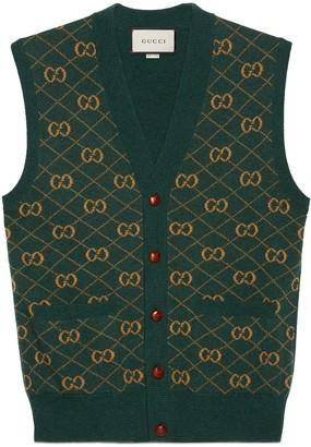 Gucci GG argyle knit wool vest