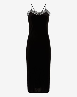 Express Velvet Lace Trim Slip Dress