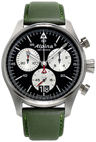 Alpina Al-372bs4s6 Startimer Pilot Stainless Steel Leather Strap Watch, Green/black
