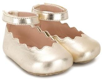 Chloé Kids Scallop-Hem Ballerinas