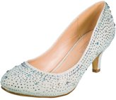De Blossom Collection Bertha-11 Classic Shimmer Low Heel Rhinestone Wedding Prom Dress Pump Shoes Silver 8