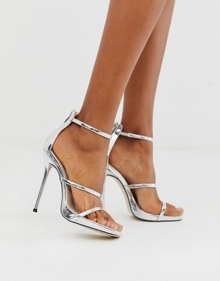 Public Desire Paris stiletto sandal in silver metallilc