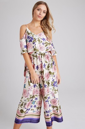 Girls On Film Bennett Floral-Print Cold-Shoulder Culotte Jumpsuit