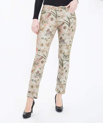 Att Jeans ATT Jeans Women's Denim Pants and Jeans Flower - Flower Print Camel Stella Straight-Leg Jeans - Women