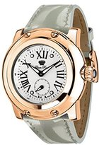 Glam Rock Women's Miami 46mm Grey Leather Band Rose Gold Plated Case Swiss Quartz Analog Watch GR10061N