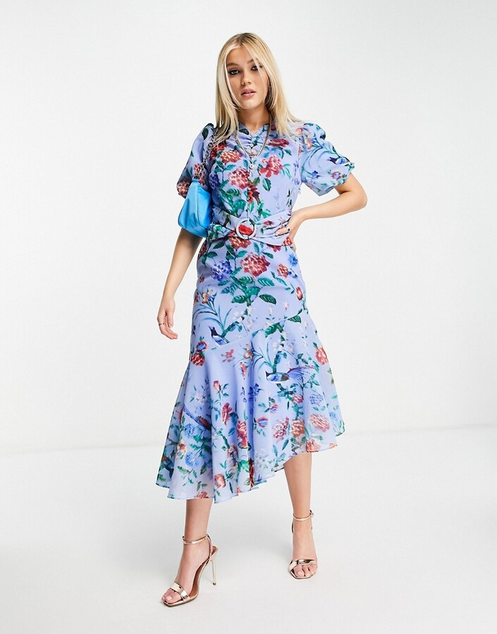 Thumbnail for your product : Hope & Ivy puff sleeve asymmetric belted midi dress with poppy print in bright blue