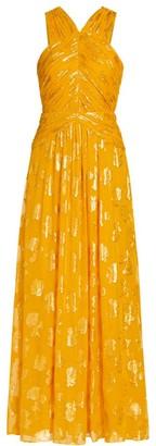 Ramy Brook Adrianna Metallic Halter Dress