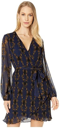 1 STATE Long Sleeve Wrap Front Pleated Floral Dress (Blue Night) Women's Dress