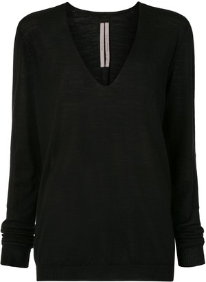 Rick Owens fine knit deep V-neck top
