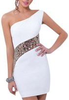 QIYUN.Z Women Party Evening Cocktail One Shoulder Bridesmaid Sequins Dress