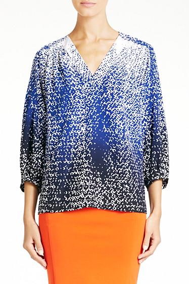 Diane von Furstenberg New Cahil Silk Top In Shaded Curtain Navy