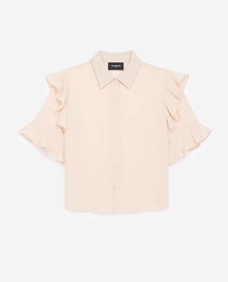 The Kooples Frilly short-sleeved flowing light pink shirt