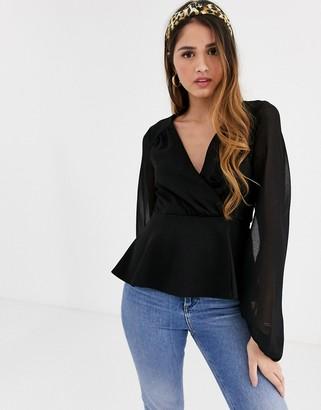 New Look long sleeve wrap top in black