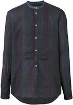 Massimo Alba collarless checked shirt - men - Linen/Flax - S
