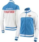 G Iii Women's G-III 4Her by Carl Banks White/Blue Oklahoma City Thunder Tip Off Rhinestone Tricot Full-Zip Track Jacket