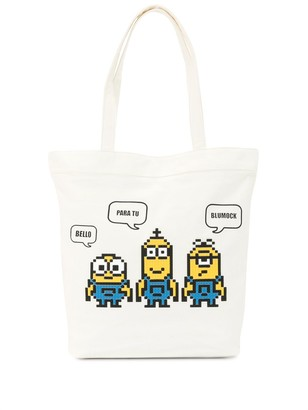 Mostly Heard Rarely Seen 8-Bit x Minions Staring Together 8-Bit tote bag