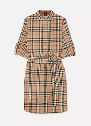 Burberry Grosgrain-trimmed Checked Cotton-poplin Dress - Beige