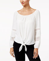 Thalia Sodi Tie-Front Lace-Inset Top, Only at Macy's