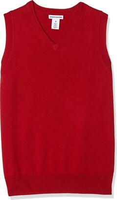 Amazon Essentials Boys' Uniform V-neck Sweater Vest Scooter Red L